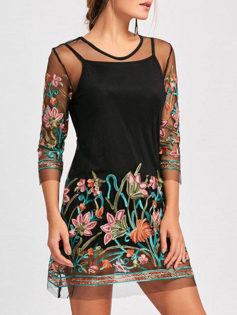 Embroidery Mesh Sheer Dress with Camisole - BLACK M