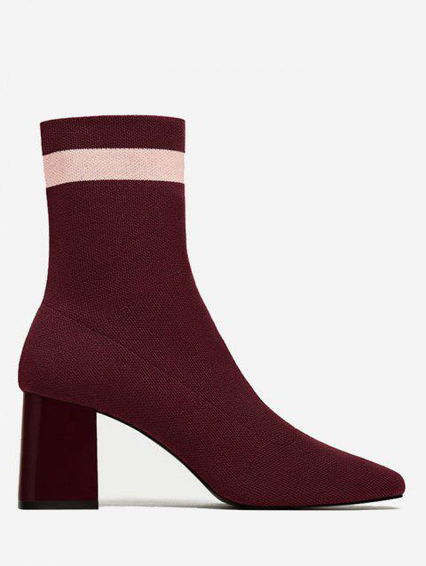Striped Color Block Pointed Toe Boots - WINE RED 36