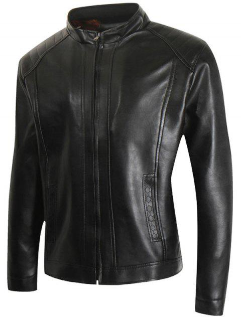 Stand Collar Faux Leather Casual Jacket - BLACK 3XL