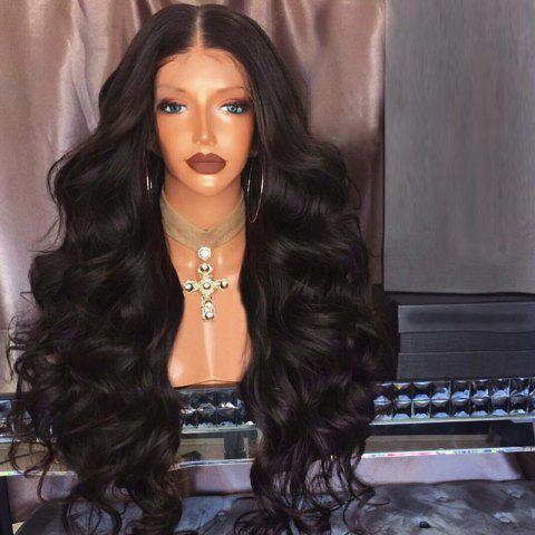 Long Middle Part Fluffy Bouffant Wave Synthetic Lace Front Wig - DEEP BROWN