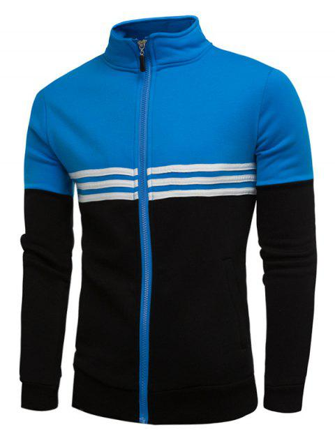 Fleece Color Block Stripe Zip Up Jacket - BLUE 2XL