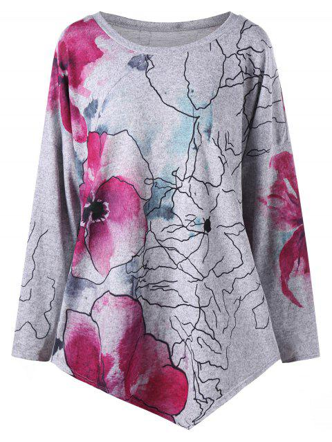 Plus Size Ink Painting Floral Drop Shoulder Asymmetric T-shirt - GRAY XL