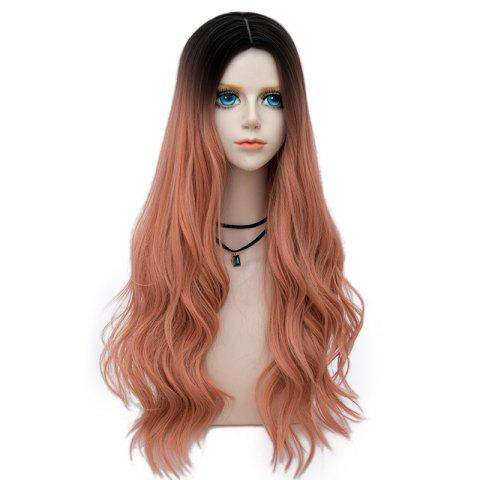 Long Center Parting Layered Wavy Synthetic Party Wig - PINK/RAINBOW