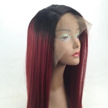 Long Side Parting Straight Colormix Synthetic Lace Front Wig - BLACK/RED