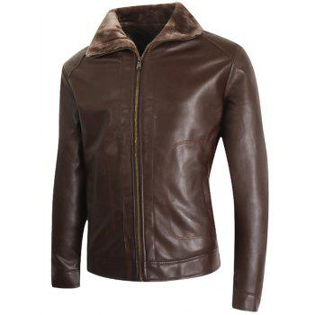 Zipper Up Borg Collar Faux Veste en cuir - Brun L