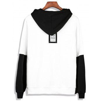 Color Block Faux Twinset Pullover Hoodie - WHITE XL
