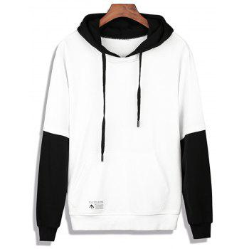 Color Block Faux Twinset Pullover Hoodie - WHITE WHITE