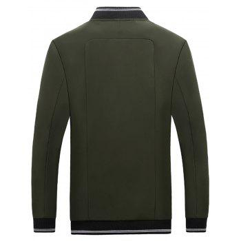 Stand Collar Zip Up Rib Panel Jacket - Vert Armée 4XL
