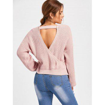 Deep V Neck Back Cut Out Sweater - PINK S