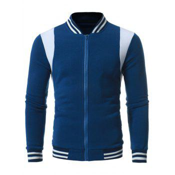 Varsity Stripe Color Block Fleece Zip Up Jacket - Bleu Cadette L
