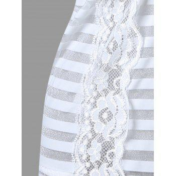 Striped Sheer Slip Garter Dress - WHITE WHITE