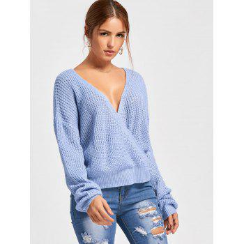 Deep V Neck Back Cut Out Sweater - AZURE M