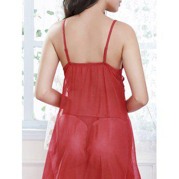 Frill Trim Lace Fringed Slip Babydoll - RED RED