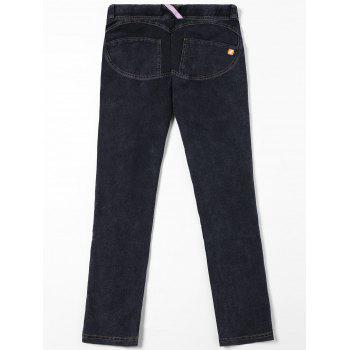 Topstitch Patch Pockets Jeans - BLACK M