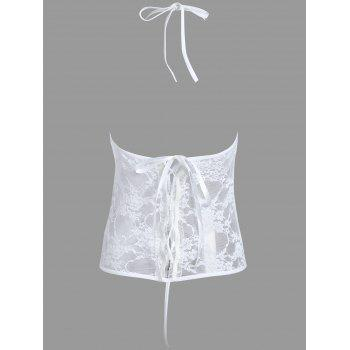 Lace Sheer Cut Out Teddy - WHITE WHITE