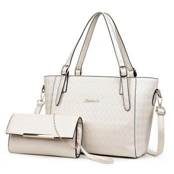 2 Pieces Metal Quilted Shoulder Bag Set - WHITE WHITE