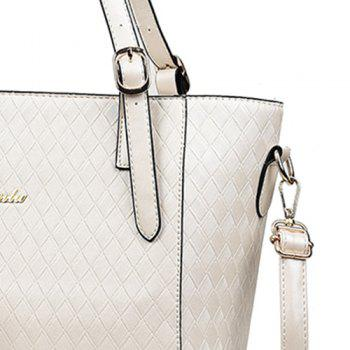 2 Pieces Metal Quilted Shoulder Bag Set -  WHITE