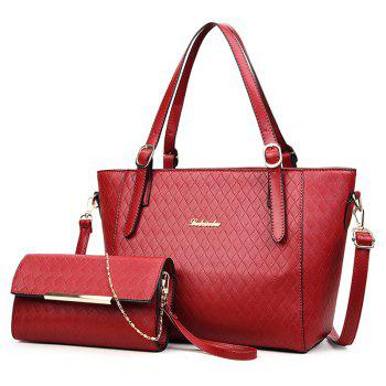 2 Pieces Metal Quilted Shoulder Bag Set - RED RED