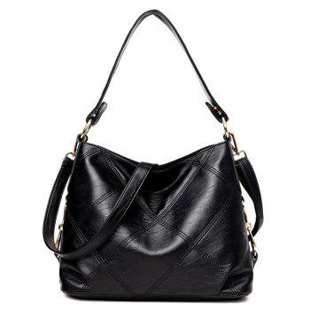 Stitching Quilt Cross Shoulder Bag - BLACK BLACK