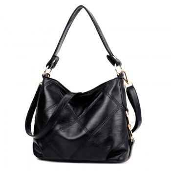 Stitching Quilt Cross Shoulder Bag -  BLACK