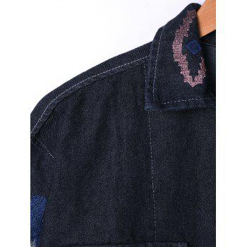 Embroidery Flap Pockets Denim Jacket - BLACK BLACK