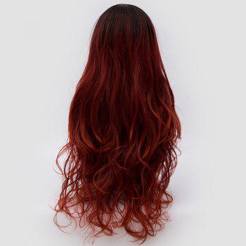 Long Side Parting Colormix Layered Shaggy Wavy Synthetic Party Wig -  DARK RED