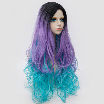 Long Side Parting Colormix Layered Shaggy Wavy Synthetic Party Wig -  BLUE / PURPLE