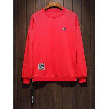 Side Zip Drop Shoulder Pullover Sweatshirt - RED 4XL