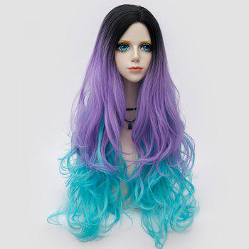 Long Side Parting Colormix Layered Shaggy Wavy Synthetic Party Wig - BLUE + PURPLE BLUE / PURPLE