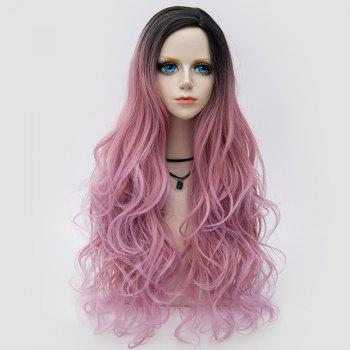 Long Side Parting Colormix Layered Shaggy Wavy Synthetic Party Wig - PINK PINK