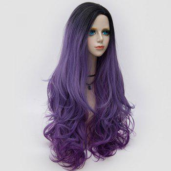Longue partie latérale Colormix Shaggy Layered Wavy Synthetic Party Wig - Pourpre