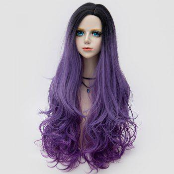 Long Side Parting Colormix Shaggy Layered Wavy Synthetic Party Wig - PURPLE PURPLE