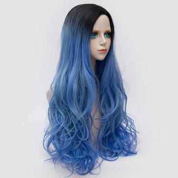 Long Side Parting Colormix Shaggy Layered Wavy Synthetic Party Wig -  BLUE