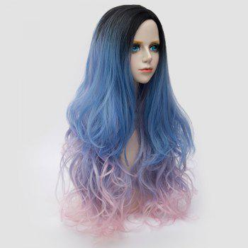 Long Side Parting Colormix Shaggy Layered Wavy Synthetic Party Wig -  BLUE/PINK