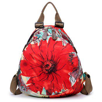 Floral Print Nylon Backpack - RED RED