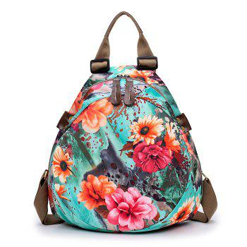 Floral Print Nylon Backpack - BLUE BLUE