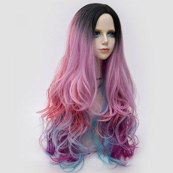 Long Side Parting Colormix Shaggy Layered Wavy Synthetic Party Wig -  COLORFUL