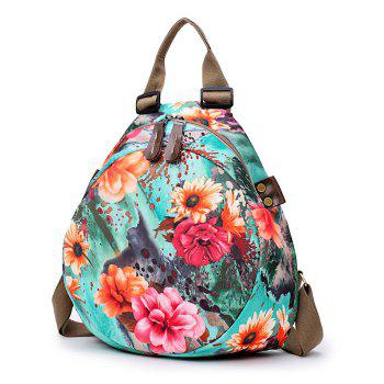 Floral Print Nylon Backpack -  BLUE