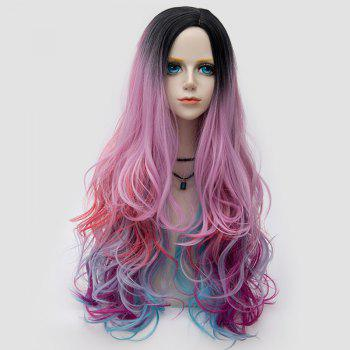 Long Side Parting Colormix Shaggy Layered Wavy Synthetic Party Wig - COLORFUL COLORFUL