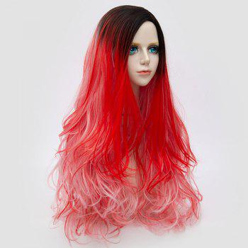 Side Parting Layered Fluffy Long Wavy Colormix Synthetic Party Wig - RED