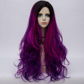 Side Parting Layered Fluffy Long Wavy Colormix Synthetic Party Wig - PURPLE PURPLE
