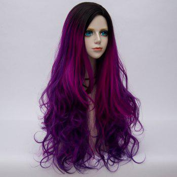 Side Parting Layered Fluffy Long Wavy Colormix Synthetic Party Wig - PURPLE