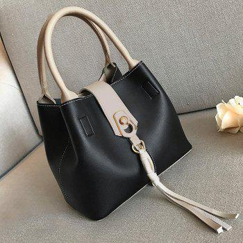 2 Pieces Color Block Tassel Handbag Set -  BLACK