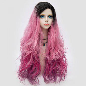 Side Parting Layered Fluffy Long Wavy Colormix Synthetic Party Wig - PINK PINK