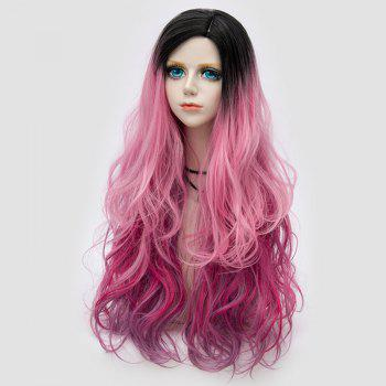 Side Parting Layered Fluffy Long Wavy Colormix perruque synthétique - ROSE PÂLE