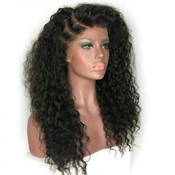 Long Deep Side Part Bouffant Kinky Curly Synthetic Lace Front Wig - BLACK