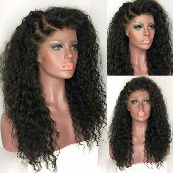 Long Deep Side Part Bouffant Kinky Curly Synthetic Lace Front Wig - BLACK BLACK