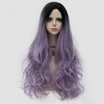 Side Parting Layered Fluffy Long Wavy Colormix Synthetic Party Wig - SUEDE ROSE SUEDE ROSE