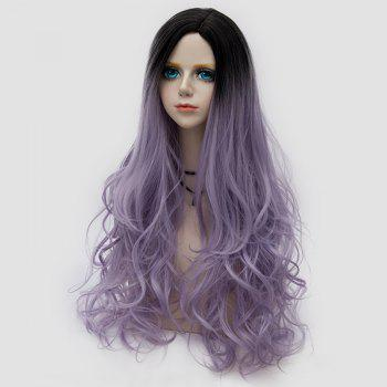 Side Parting Layered Fluffy Long Wavy Colormix Synthetic Party Wig - SUEDE ROSE
