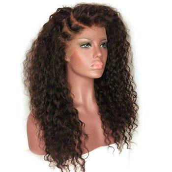 Long Deep Side Part Bouffant Kinky Curly Synthetic Lace Front Wig - DEEP BROWN